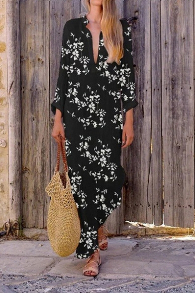Women's Hot Fashion V- Neck 3/4 Sleeve Floral Printed Maxi Shift Dress