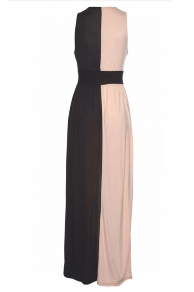 Women's Hot Fashion V-Neck Sleeveless Colorblock Printed Maxi Slip Dress