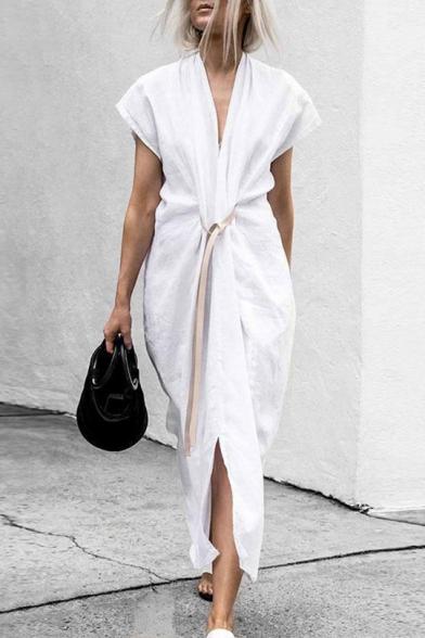 Women's Sexy V-Neck Short Sleeve Plain Bow-Tied Waist Loose Maxi Wrap Dress