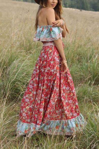Women's Summer Fashion Scoop Neck Short Sleeve Floral Printed Maxi Boho Beach Dress