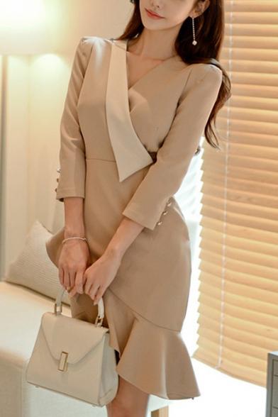 Women's Trendy Plain V-Neck Long Sleeve Ruffle Hem Midi Sheath Apricot Dress