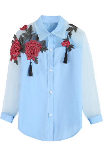 Womens Chic Floral Embroidery Sheer Organza Panel Long Sleeve Button Down Shirt