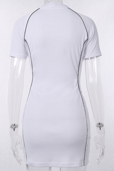 Womens Street Fashion High Neck Short Sleeve Chic Reflecting Light Tape Patched Mini White Bodycon Dress