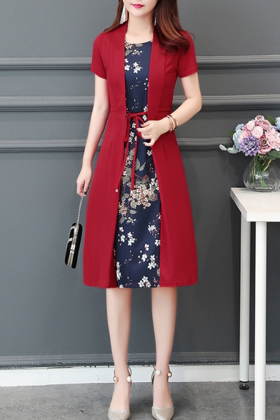 Womens Summer Chic Floral Printed Fake Two-Piece Patched Tied Waist Short Sleeve Midi A-Line Dress
