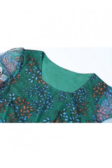 Womens Summer Fashion Floral Pattern Square Neck Short Sleeve Midi A-Line Chiffon Dress