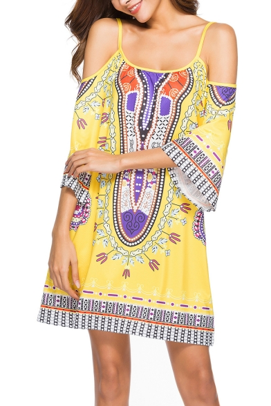 Womens Summer Holiday Fashion Tribal Printed Cold Shoulder Three-Quarter Sleeve Mini Strap Dress Beach Dress
