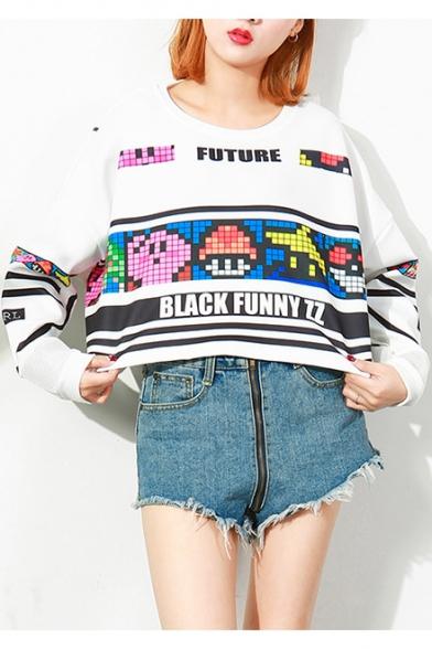 Cartoon Colorblock Plaid Game Printed FUTURE BLACK FUNNY ZZ Letter Round Neck Long Sleeve Sweatshirt