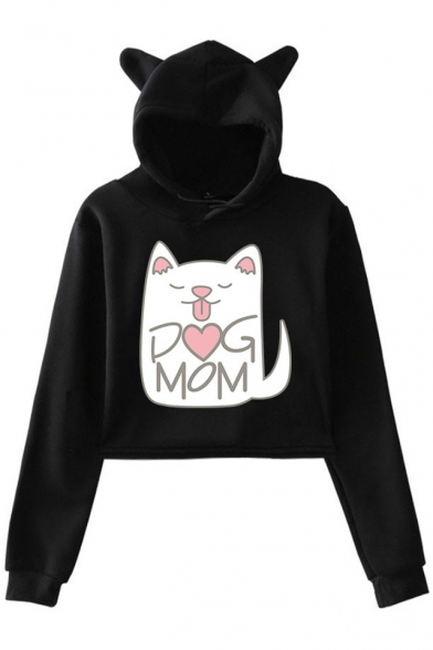 Cut Cartoon Cat Letter DOG MOM Ear Design Long Sleeve Cropped Relaxed Hoodie