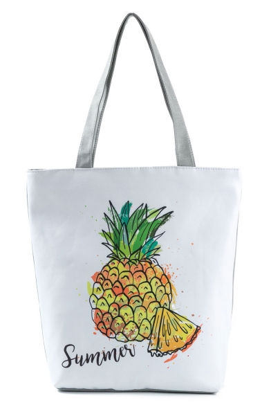 Cute Cartoon Pineapple Letter Printed White Shoulder Bag 27*11*38 CM