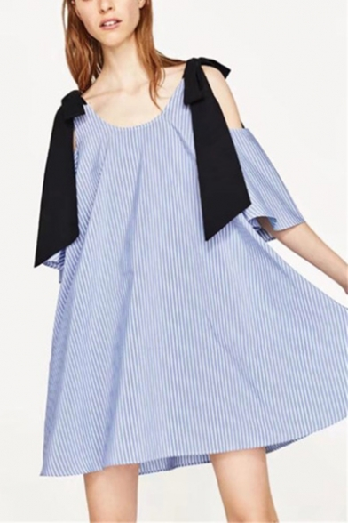 Fashion Blue Striped Pattern Round Neck Bow-Tied Strap Cold Shoulder Mini Shift Dress