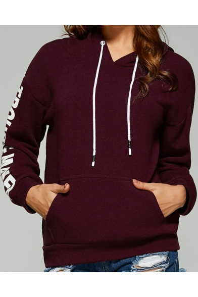 Fashion Women's TROUBLE MAKER Letter Print Long Sleeve Drawstring Hood Hoodie with Pocket