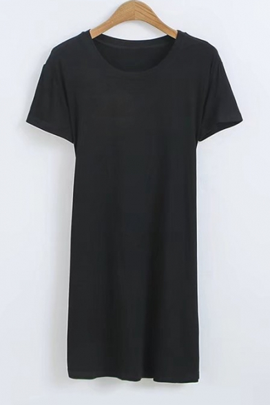 Girls Cool Street Style Simple Plain Crisscross Back Round Neck Short Sleeve Stretch Cotton Mini Bodycon T-Shirt Dress