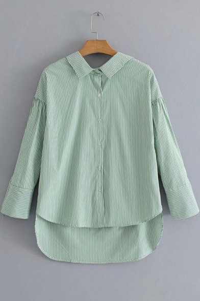 Green Vertical Stripe Printed Tied Cuff Long Sleeve Button Down High Low Shirt