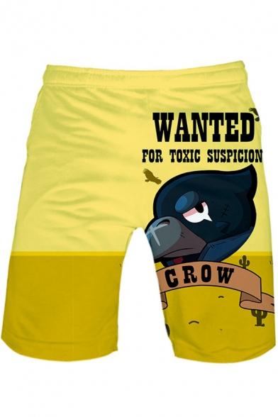 Guys Cool Cartoon Crow Letter Printed Drawstring Waist Yellow Sport Sweat Shorts