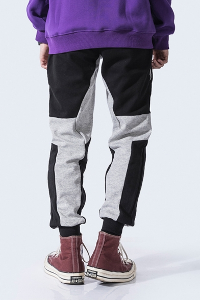 Guys New Trendy Black and Grey Colorblock Drawstring Waist Loose Fit Cotton Sweatpants
