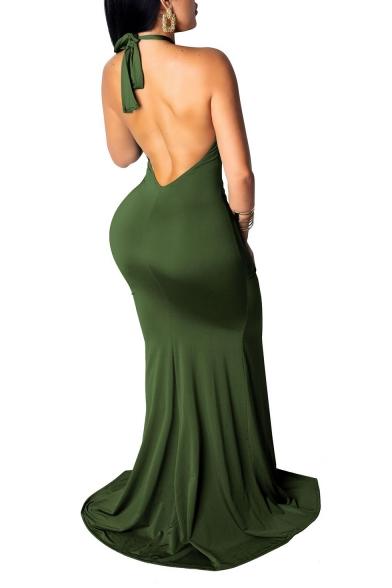 Hot Fashion Halter Neck Sleeveless Plain Split Side Backless Bodycon Maxi Dress For Women