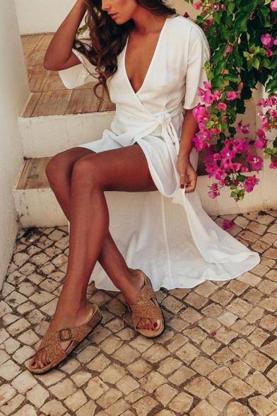 Hot Fashion Plunge Neck Half Sleeve Plain Split Asymmetric Hem Maxi Wrap Dress