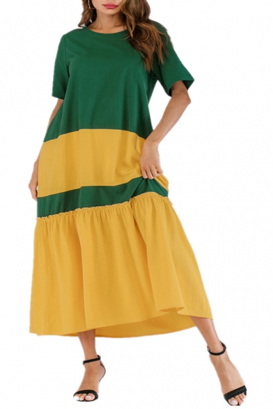 Hot Fashion Round Neck Short Sleeve Colorblock Printed Loose Maxi Swing Green Dress