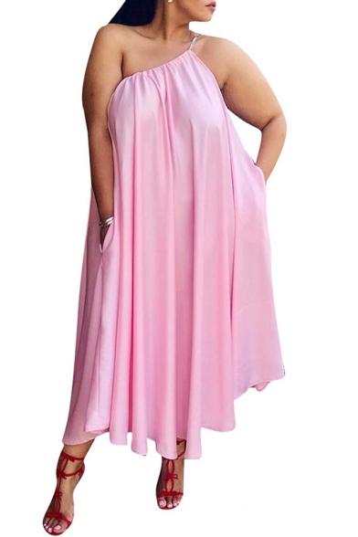 Hot Fashion Sexy Spaghetti Straps Sleeveless Plain Casual Loose Midi Swing Pink Dress