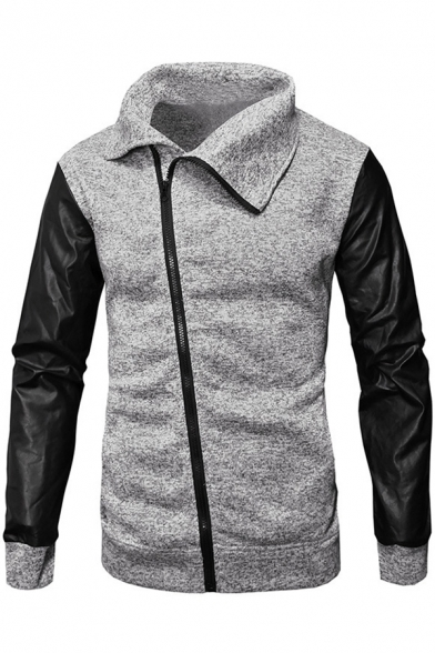Men's New Trendy PU Patched Long Sleeve Oblique Zip Front Casual Jacket Sweatshirt