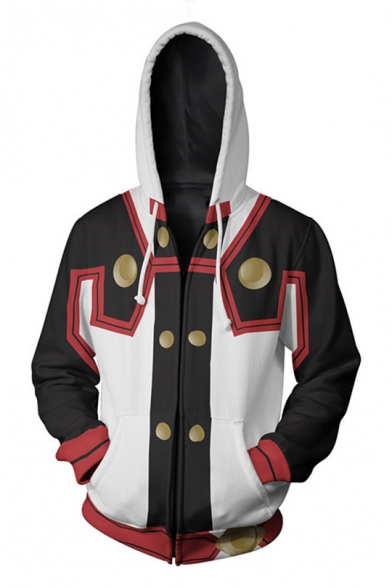New Stylish 3D Colorblocked Comic Cosplay Costume Black and White Zip Up Hoodie