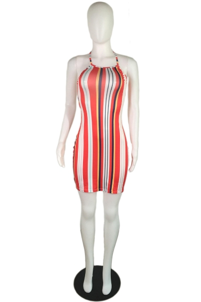 New Stylish Colorblock Rainbow Stripe Printed Halter Sleeveless Strappy Open Back Mini Bodycon Dress