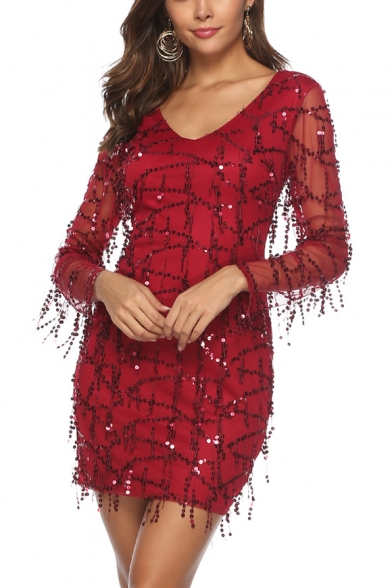 New Trendy Burgundy V Neck Long Sleeve Sequined Tassel Mesh Zip Back Mini Sheath Dress