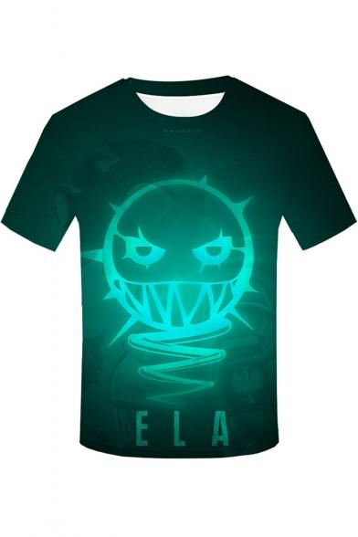 Popular Game Figure Ela Pattern Round Neck Short Sleeve Green T-Shirt