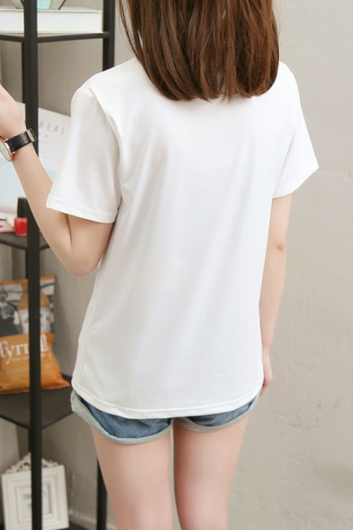 Shark Dream Cool Street Letter Printed Round Neck Short Sleeve Graphic Tee