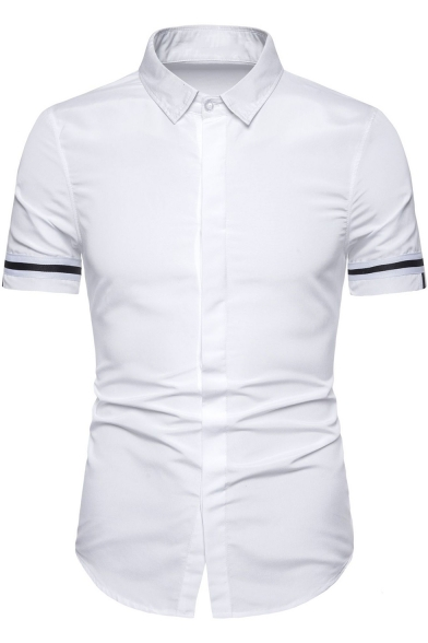 Domple Mens Outdoor Short Sleeve Button Front Slim Fit Stylish Cotton Shirt