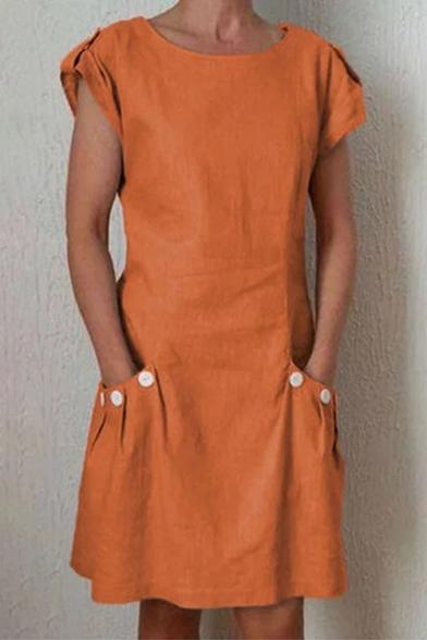 Summer Basic Simple Plain Round Neck Short Sleeve Button Pocket Mini A-Line Dress