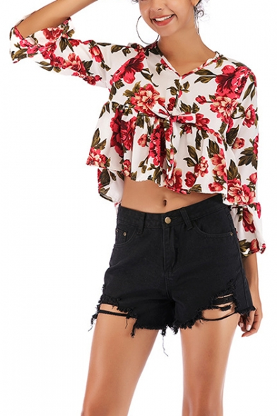 Summer Chic Red Floral Printed V-Neck Flared Sleeve Cropped Chiffon Blouse