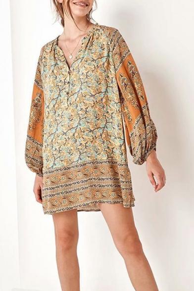 Summer Chic Tribal Printed Button V-Neck Long Sleeve Mini Orange Shift Dress
