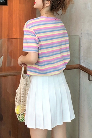 Summer Girls Colorful Stripe Printed Round Neck Short Sleeve Casual Tee