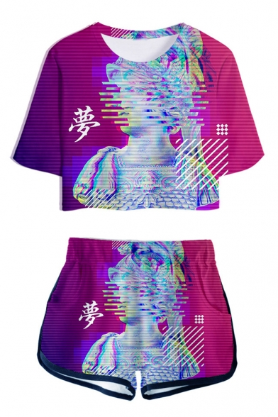 Summer New Stylish Vaporwave Cool 3D Printed Cropped Tee Dolphin Shorts Sport Two-Piece Set, Color 1;color 2;color 3;color 4;color 5;color 6;color 7;color 8;color 9;color 10, LM533981