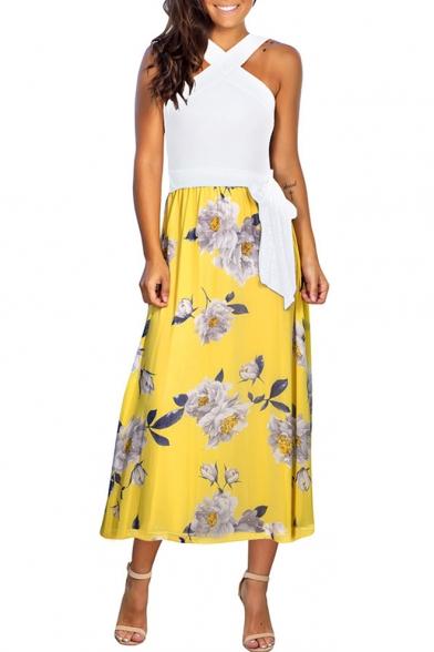 Summer Popular Fashion Sleeveless Cross Neck Tied Waist Maxi A-Line Dress
