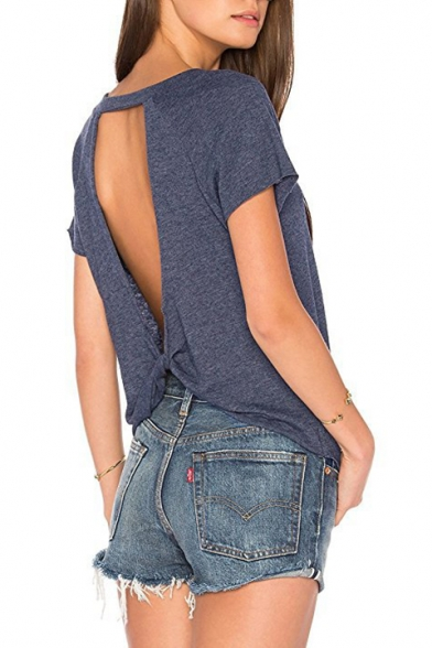 Summer Unique Fashion Twist Open Back Round Neck Short Sleeve Cotton Loose Tee