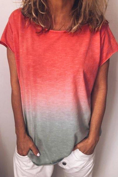 Summer Womens Hot Popular Ombre Color Round Neck Short Sleeve Casual Tee