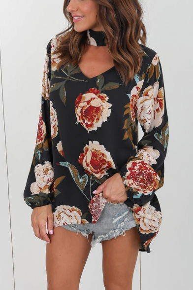 Unique Halter V-Neck Long Sleeve Chic Floral Printed Loose Fit Blouse Top