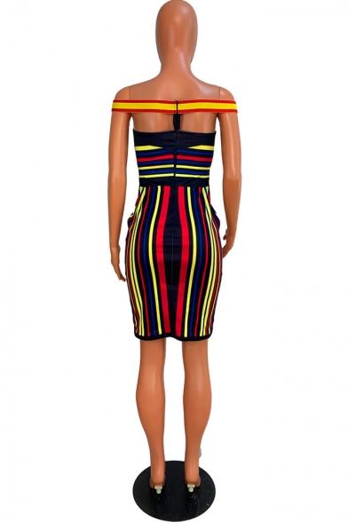 Women's Colorblock Stripe Printed Off Shoulder Patchwork Mini Bodycon Dress