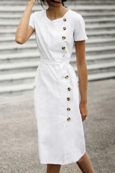 Women's Elegant Simple Plain Button Side V-Neck Short Sleeve Tied Waist Midi Sheath Dress
