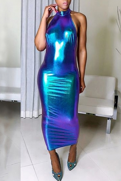 Women's Hot Fashion Halter Neck Sleeveless Laser Printed Maxi Bodycon Blue Dress