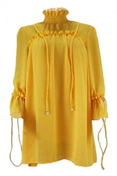 Women's Hot Fashion High Neck Long Sleeve Plain Tide Waist Mini Chiffon Yellow A-Line Dress
