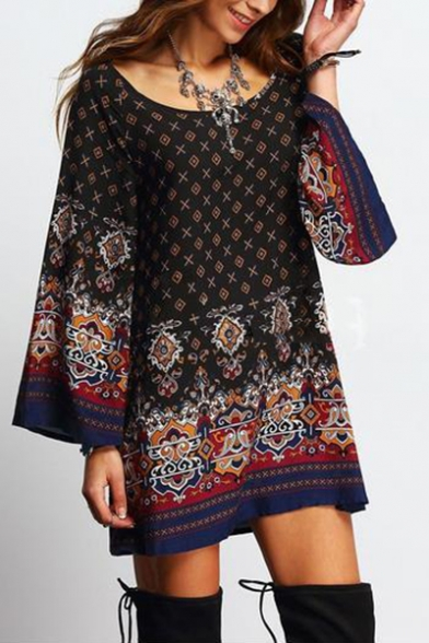 Women's Vintage Tribal Printed Round Neck Long Sleeve Loose Casual Mini Dress