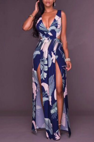Women Sexy Plunge Neck Floral Printed Split Side Bow-Tied Waist Bodycon Maxi Navy Dress
