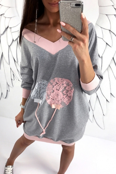 Womens Hot Fashion Colorblock V-Neck Long Sleeve Loose Fit Tunic Sweatshirt