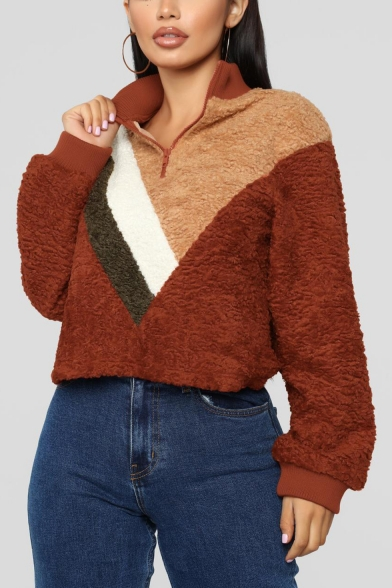 Womens Hot Popular Color Block Half-Zip Stand Collar Long Sleeve Fluffy Fleece Khaki Sweatshirt