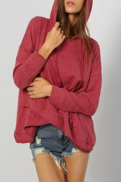 Womens New Trendy Simple Plain Asymmetrical Hem Long Sleeve Casual Loose Pullover Hoodie
