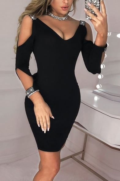 Womens Sexy Cold Shoulder V Neck Split Sleeve Plain Open Back Beaded Embellished Mini Bodycon Pencil Dress