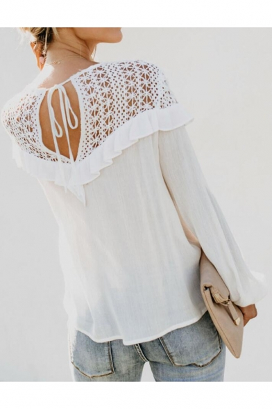Womens Sexy Hollow Lace Panel Round Neck Long Sleeve Ruffled Hem White Blouse Top